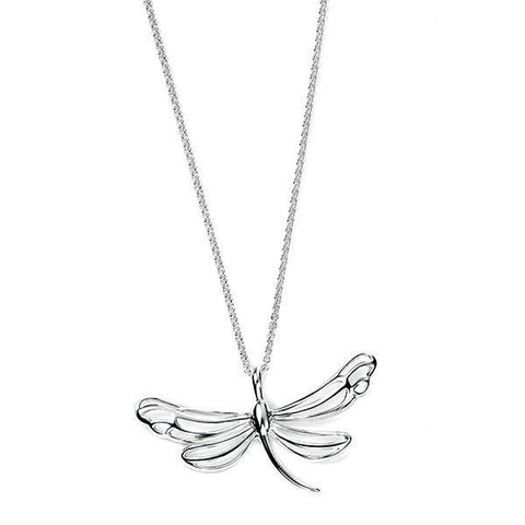 Openwork Dragonfly Silver Necklace-VAVOO