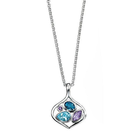 London Blue Topaz & Amethyst Open Silver Necklace-VAVOO