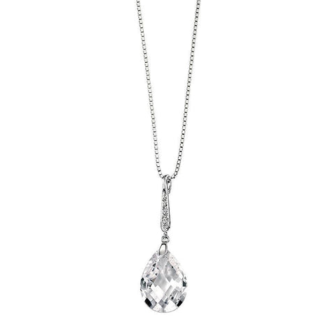 Teardrop CZ Pave Bail Silver Necklace-VAVOO