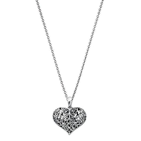 Filigree Heart Silver Necklace-VAVOO