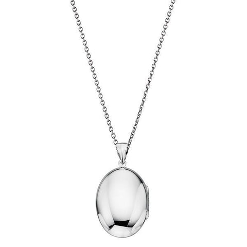 Large Oval Locket Silver Necklace-VAVOO