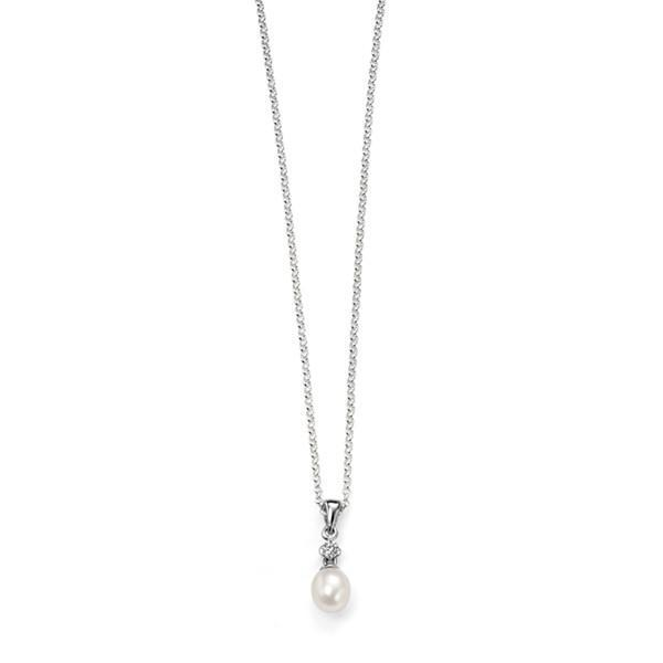 White Pearl with CZ Silver Necklace-VAVOO