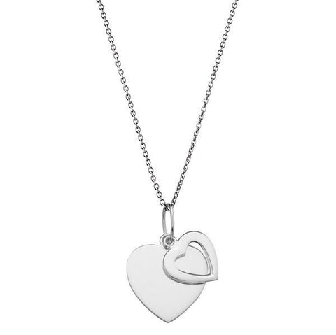 Double Heart Tag Silver Necklace-VAVOO