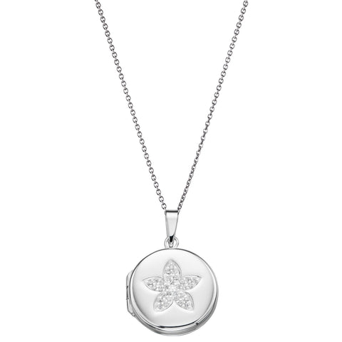 Pave Flower Locket Silver Necklace-VAVOO