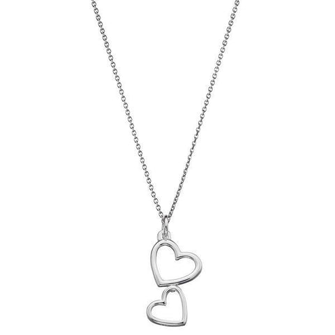 Double Heart Silver Necklace-VAVOO