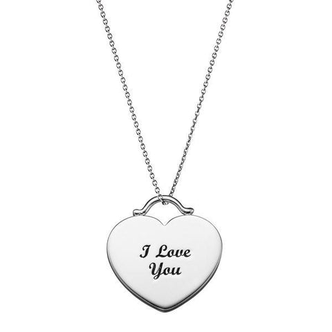 I Love You Heart Tag Silver Necklace-VAVOO