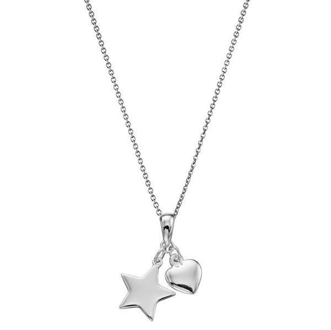 Heart And Star Silver Necklace-VAVOO
