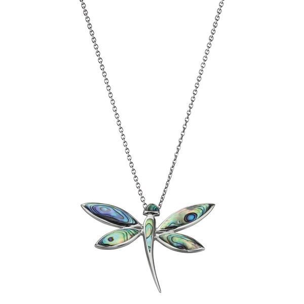 Large Paua Shell Dragonfly Silver Necklace-VAVOO