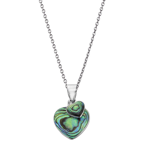 Paua Shell Double Heart Silver Necklace-VAVOO
