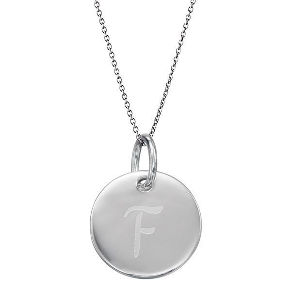 Initial Tag 'F' Silver Necklace-VAVOO