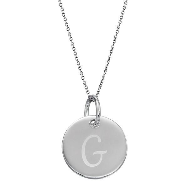 Initial Tag 'G' Silver Necklace-VAVOO