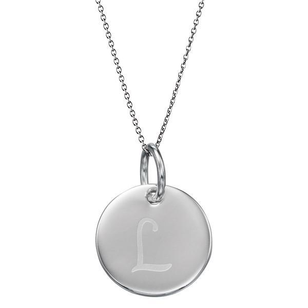 Initial Tag 'L' Silver Necklace-VAVOO