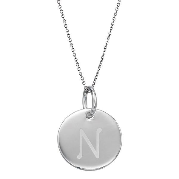 Initial Tag 'N' Silver Necklace-VAVOO