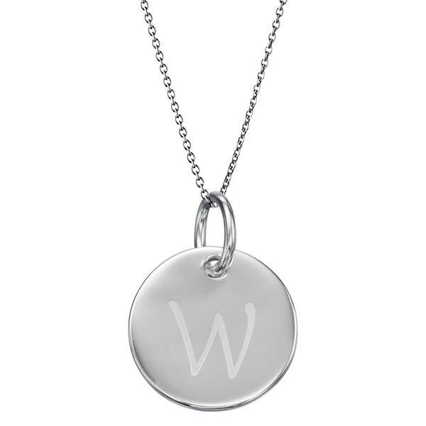 Initial Tag 'W' Silver Necklace-VAVOO