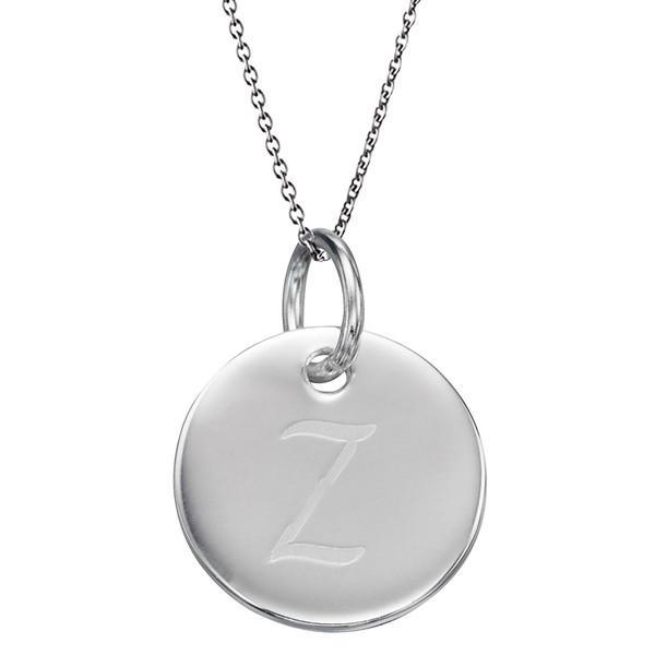 Initial Tag 'Z' Silver Necklace-VAVOO