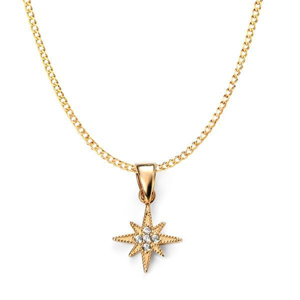Clear CZ Star Gold Plated Silver Necklace-VAVOO