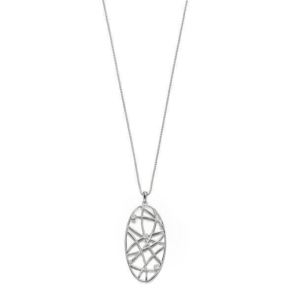 Open Work Stone Set Silver Necklace-VAVOO