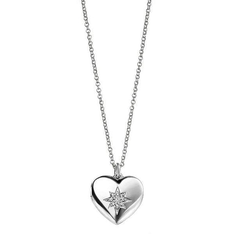 CZ Heart Locket Silver Necklace-VAVOO