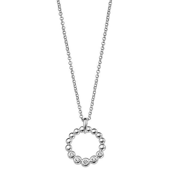 Open Circle CZ Silver Necklace-VAVOO