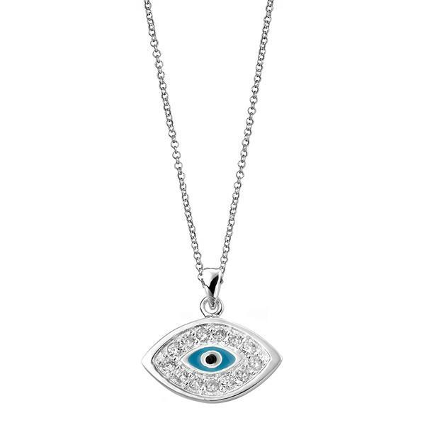 Evil Eye Charm Silver Necklace-VAVOO