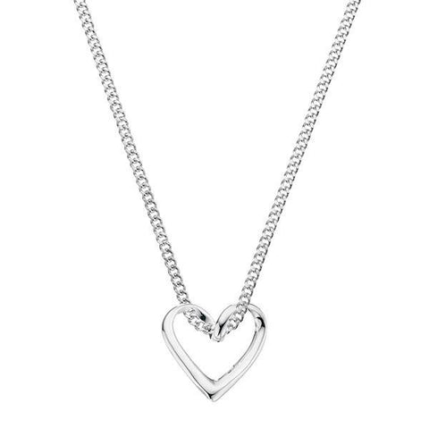Loopy Heart Silver Necklace-VAVOO