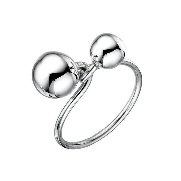 Small Double Ball Twist Silver Ring-VAVOO