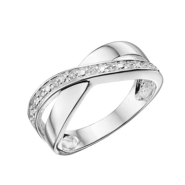Crossover Pave Silver Ring-VAVOO