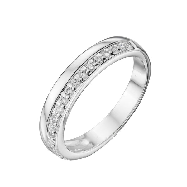 Pave CZ & Polished Band Silver Ring-VAVOO