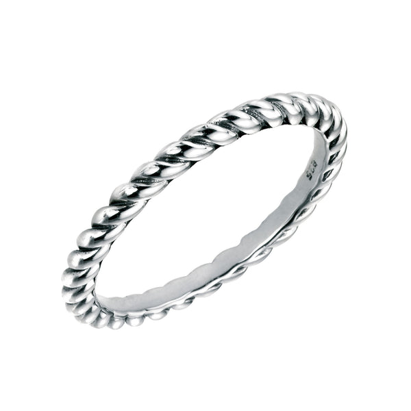 Twist Band Oxidised Silver Ring-VAVOO