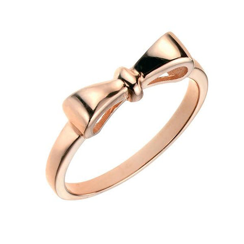 Rose Gold Plated Bow Silver Ring-VAVOO