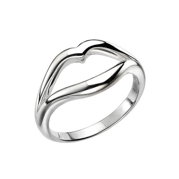 Open Lips Silver Ring-VAVOO