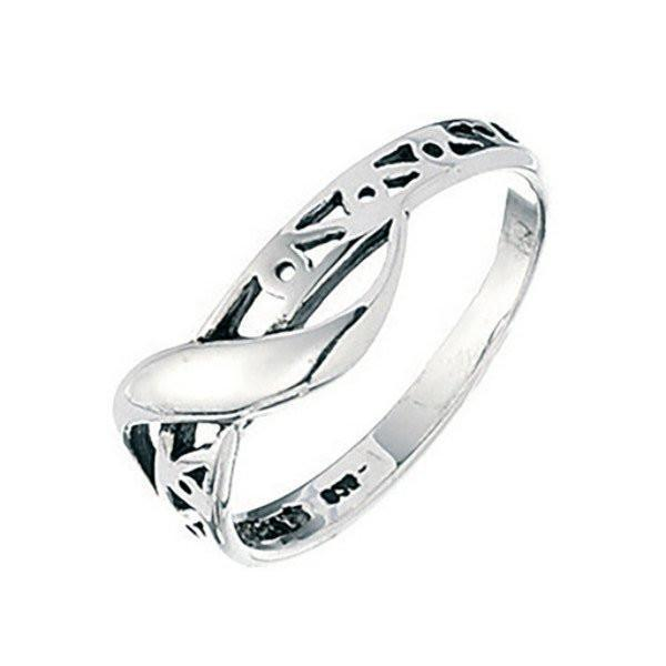 Filigree Band With Overlapping Swirl Silver Ring-VAVOO