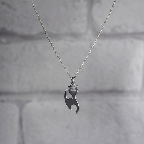 Cat Silhouette Silver Necklace-VAVOO