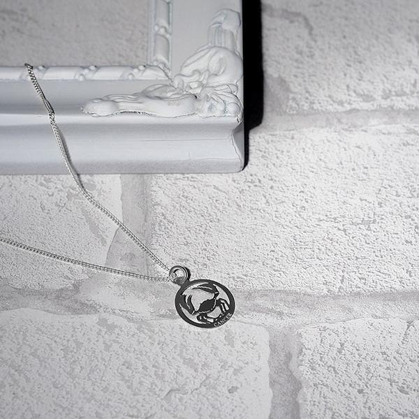 Cancer Sign Medallion Silver Necklace-VAVOO