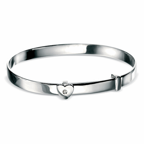D For Diamond Silver Heart Baby Silver Bangle-VAVOO