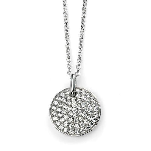 Clear CZ Pave Disc Sterling Silver Necklace-VAVOO