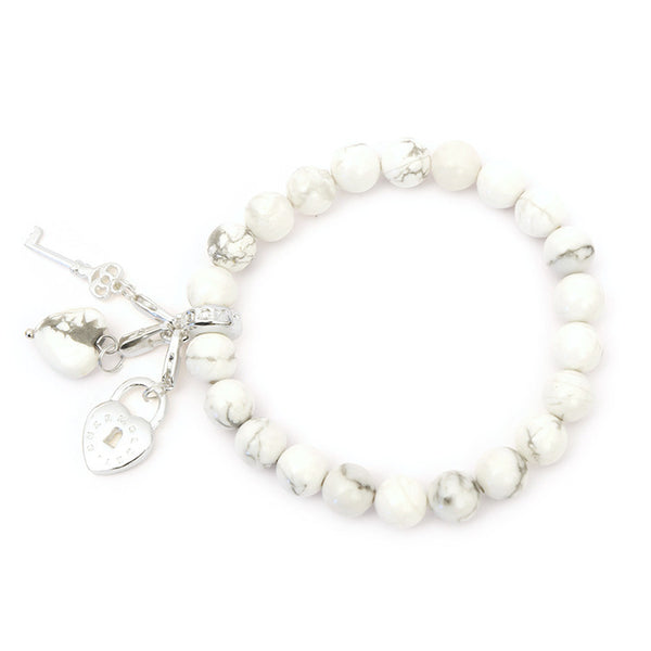 Key to Your Guardian Angel Howlite with Key and Padlock Charm - Charmology