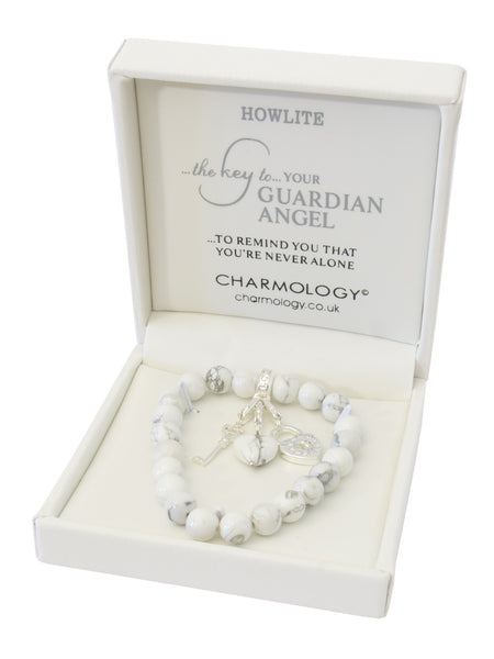 Key to Your Guardian Angel Howlite with Key and Padlock Charm
