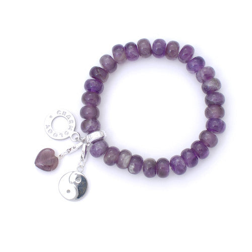 Powerbead Peace Amethyst Bracelet with Yin Yang Charm - Charmology