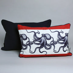 Maritime Cushion - Stripe Octopus Navy Cotton Back