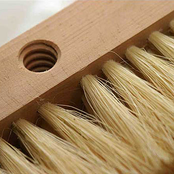 16-inch Oven Brush for Wood-Fired Brick Hearth, White Tampico Bristles, with 55-inch Handle