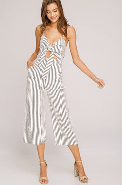 Striped Jumpsuit with Front Tie and flare legs