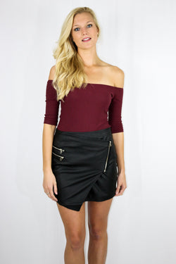 Burgundy Off the Shoulder Bodysuit