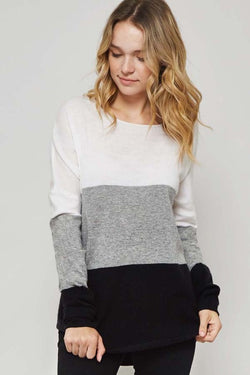 Tri Color Block Sweater with White Gray and Black