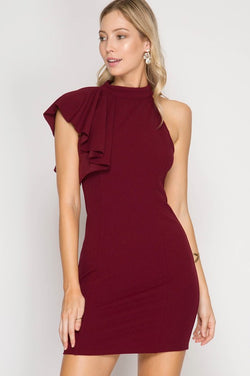 Bodycon Dress with Asymmetrical Ruffle
