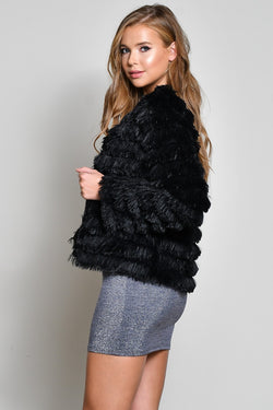 Faux Fur Layered Jacket
