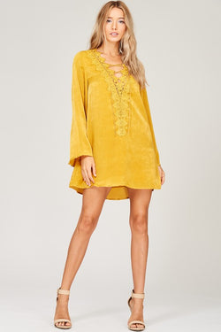 Boho Silk Dress with Lace Up front and Bell Sleeves