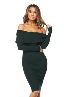 Forest Green Off Shoulder Bodycon Midi Dress