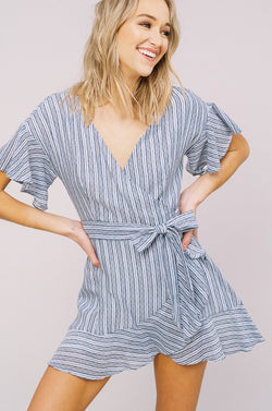 Striped Flared Wrap Dress