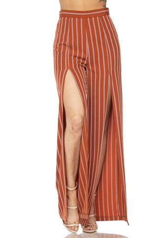 Front Slit Stripe Pants- Rust